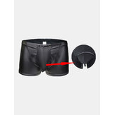 Black Button Opening Crotch Low Waist Faux Leather Boxers