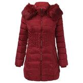 Kadınlar Sıcak Kış Kapüşonlu Uzun Aşağı Ceket Fermuar Palto