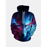 Unisex Star and Wolf Digital 3D Printing Hoodie
