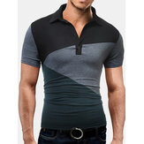 Mænds mode Stitching Stave Color Short Sleeved Golf Shirt