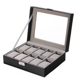 Leather Watch Jewelry Display Storage Holder Case 10 Grids Box Desktop Organizer