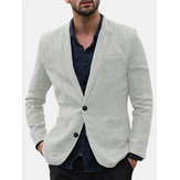 Mens linen casual trim style single suits jacket