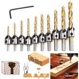 3-10mm HSS 5 Fluit Verzinkboor Boor Set Timmerwerk Ruimer Houtbewerking Afschuining Boor