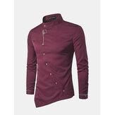 Männer Stickerei Persönlichkeit Schräge Decke Unregelmäßiges Saum Lange Hülsen Moderne Beiläufige Shirts Hemd