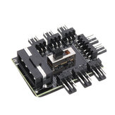 1 a 8 3Pin Fan Hub PWM Molex Splitter PC Cabo de Mineração 12 V 4 P Power Supply Cooler Cooling Speed Controller Adapter