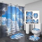Прорыв сквозь облака Искупление Водонепроницаемы Ванная комната Занавеска для душа Унитаз Коврик с противоскользящим ковриком Ванная ко