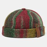 Banggood Design Men Plush Multicolor Contrast Color Stripe Modello Beanie Senza Tesa Cappello da padrone di casa Cappello con teschio