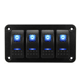 Universal 4 Gang LED Rocker Switch Panel Waterproof IP65 for 12V-24V RV Boat Yacht Marine