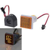 3pcs Geekcreit® 3 em 1 CA 60-500V 100A Amperímetro Amperímetro HZ Hertz Medidor de frequência 22mm Tensão digital de corrente Digital Amp Amp Signal Light Amarelo LED Indicador de lâmpada com CT