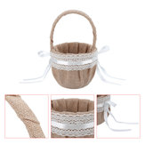 Linen Lace Basket Romantic Bowknot Handled Flower Ceremony Wedding Party Storage Baskets
