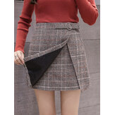 High Waist Plaid A-line Thick Woolen Skirts