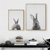 Cute Rabbit Canvas Wall Art Poster Animal Print Paintings Baby Nursery Room