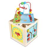 Activité 5 en 1 de jouets en bois Cube Enfants Bébé Perle Labyrinthe Jouets Éducatifs Apprentissage Puzzle Jouets Cadeaux