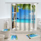 Океан Синий Белый Песок Пляжный Palm View Лето Отпечатано Ванная комната Санузел Декор Душевая Занавеска Коврики