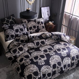 Black White Skull Printed Quilt Cover Pillowcase Halloween Style Bedding Sets