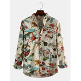 Men Oriental Landscape Painting Print Long Sleeve Shirts