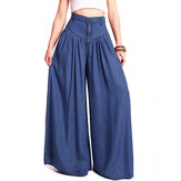 Breites Bein Casual Pure Color Seitentasche Hosen Baggy Pants