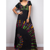 Frauen Kurzarm Bohemia Printed Party Maxi Kleid