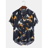 Katoen Cartoon dierenhuis afdrukken Casual shirts met korte mouwen