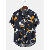 Cotton Cartoon Animal House Printing Short Sleeve Casual Shirts