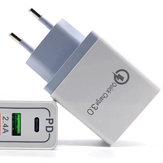 Bakeey QC3.0 PD Type C Быстрая зарядка ЕС Plug USB адаптер для зарядного устройства для iPhone 11 Pro Huawei P30 Mate 30 9 Pro S10 + Note10