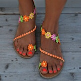 Women Bohemian Flower Decoration Bead Slip On Clip Toe Summer Beach Flat Sandals