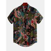 Herren Vintage Kurzarm-Shirts für den ethnischen Stil