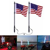2pcs 4ft Lighted LED Whip Light 20 Color RGB Flagpole Strip Lamp With Flag & Remote For Jeep ATV UTV