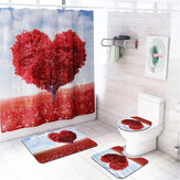 Heart Tree Waterproof Bathroom Shower Curtain Panel Floor Mat Toilet Seat Cover