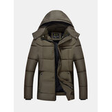 Men Thick Winter Coat Stand Collar Solid Color Casual Hooded Detachable Jacket