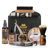 11 in 1 Beard Grooming Kit for Men Brush Comb Balm Shampoo Balm Apron Razor Set