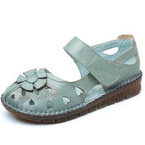 Large Size Women Flowers Leather Stitching Flats