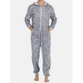 Men Gray Camo Loungewear Jumpsuit Thicken Thermal Loose Zip