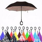 Double Layer Blossom Design UV-beständiger, umgedrehter Regenschirm mit C-förmigem Griff Winddichter Sonnenschirm für Herren Damen