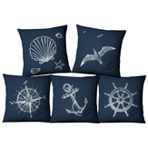 Blue Compass Nautical Marine Style Linen Pillow Case Mediterranean Sofa Cushion Cover Home Textile