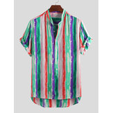 Mens Colorful Striped Loose Casual Fashion Hawaiian Skjortor