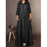 Women Casual Loose Front Zipper Side Pockets 3/4 Sleeve Hooded Dress