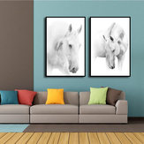 Miico Hand Painted Combination Decorative Paintings Black And White Horse Wall Art For Home Decoration H