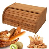 Nature Bamboo Wooden Roll Up Kitchen Bread Box Bin Storage Holder Baskets Container