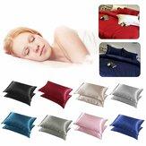 2 piezas Seda Soft Almohada Caso Funda de cojín de cama Funda de almohada Habitación de lujo Regalo para el hogar
