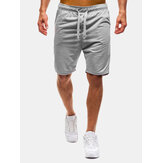 Mens Gym Cotton Breathable Drawstring Solid Color Running Shorts
