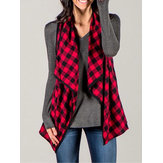 Frauen Plaid Sleeveless Mantel Strickjacken Casual Mäntel