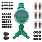 72Pcs/Set 30M Hose Water Controller Timer LCD Display Adjustable Drippers DIY Micro Drip Misting Irrigation System Automatic Garden Watering Kits