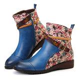 المرأة الرجعية إبزيم النسيج خياطة أحذية الكاحل