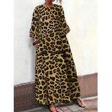 Wanita Leopard Print Dress Longgar Kasual dengan Kantong