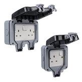 13A Waterdichte contactdoos met dubbele sokdoos Elektronische moduulcontactdoos met installatieaccessoires