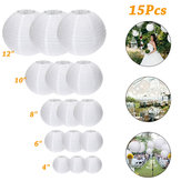 15Packs White Round Paper Lanterns with Assorted Sizes for Wedding Party Decorations