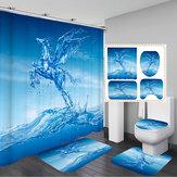 Ganchos de tela impermeables Cuarto de baño Cortina de ducha Piña Fruta Cuarto de baño Nuevo
