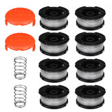 8Pcs Weed Eater String Replacement Spool Line + 2Pcs Trimmer Cap For Black For Decker Lawnmower