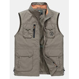 Men Outdoor Plus Size Stand Collar Fashion Water Repellent Fishing Vest